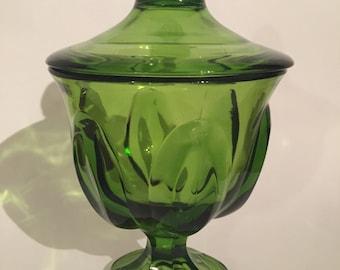 Vintage Mid Century Emerald Green Viking Glass Candy Jar