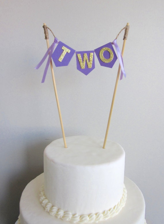 Glittery Gold And Purple Two Cake Topper 2nd Birthday Cake Flag