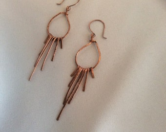 Copper and Sliver Hammered Hoop Earrings