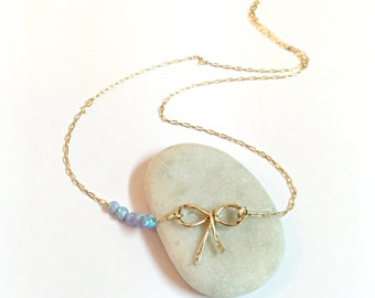Bow Necklace, bridesmaid necklace tie the knot, Opal bow necklace, bridesmaid gift, friends necklace, friendship necklace opal knot necklace