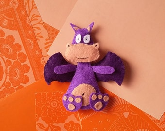 Dragon-PDF pattern, instant download, felt sewing patters, handsewing, DIY, sewing crafts, no. 02
