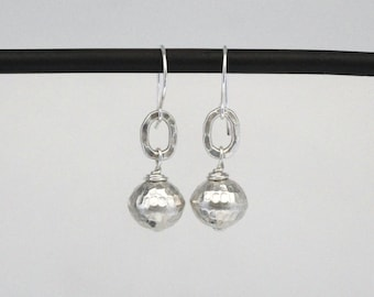 Thai Fine Silver Hammered Earrings, Silver Drop Dangles, Sterling Silver, Hammered Silver Drop Earrings, Hill Tribe Silver Dangle Earrings