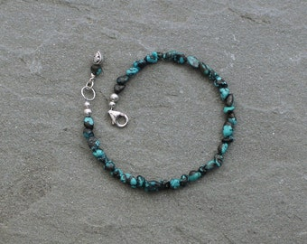 Turquoise Bracelet, Beaded, Sterling Silver, Fleur De Lis Jewelry, Turquoise Nugget Bracelet, Turquoise Jewelry