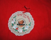 BABY'S First Christmas Ornament 1990 with BUNNIES, Hearts and Lace