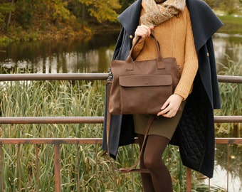Brown leather bag, leather handbag, bag with zipper, crossbody bag with zipper