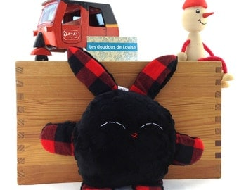 Rabbit stuffed animal / Pilou le lapinou / black minky and plaid fabrics black and red