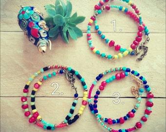"""Colorful """"Seville"""" wrap bracelet, spanish bracelet, layering bracelet, handmade gift, gift for her, Mediterranean jewelry Mediterranean gift"""