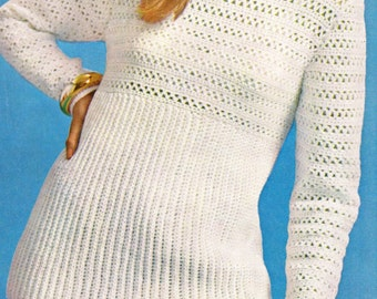 Crochet Sweater Pullover PATTERN, Womens Crochet Sweater Pattern - Plus Sizes - Digital Download