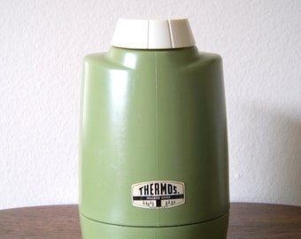Vintage Avocado Green Thermos Insulated Server