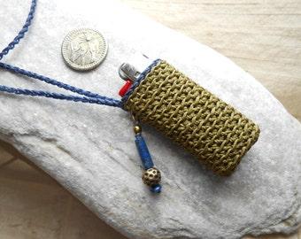 Lighter case necklace - crochet lighter holder khaki+dark blue with Lapis lazuli & brass - neck purse for mini bic - gift idea for smokers