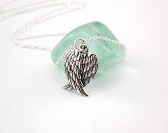 Angel Necklace, Angel Pendant, Angel Charm, Angel Jewelry, Angel Wings Necklace, Angel Wing, Silver Angel, Grief Gift, Stampsink