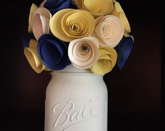Rustic navy and yellow paper rose bouquet in hand painted mason jar