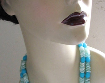 Vintage Necklace Earrings Set Hong Kong 1960s Aqua Blue