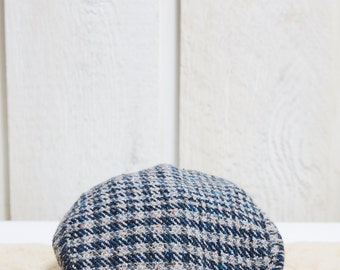 70s Lowie Blue and Grey Houndstooth Wool Plaid Flat Cap Newsboy Cap • L