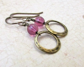 Purple Drk Beads and Antique Brass Earrings