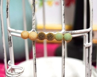"The ""Allie"" Gold Studded Sphere Ball Earrings - Turquoise or Black or Cream"