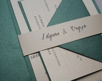 Green Wedding Invitation Suite, Green Metallic Modern Script Wedding Invitations, Green Elegant Wedding Invitation