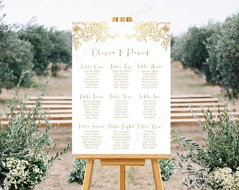 Personalised Printable Wedding Seating Chart, Wedding Table Plan, Gold Floral Collection - WCB62