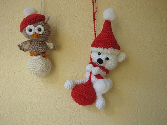 Polar bear and owl ornament crochet pattern ice bear and owl