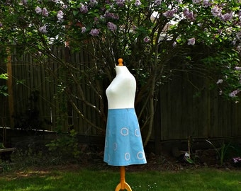 A Line Skirt, 50s Style Skirt, Cotton Skirt, Floral Skirt, Summer Skirt, Purple Flowers, Knee Length Skirt, Womens Skirts, Vintage Style