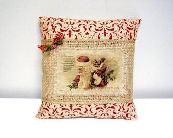CHRISTMAS Santa Burlap Pillow - Vintage Santa with Toys