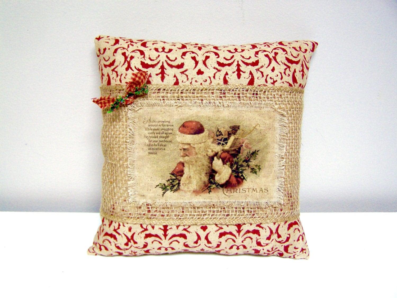 CHRISTMAS Santa Burlap Pillow Vintage Santa with Toys