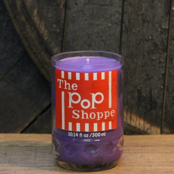 Upcycled Soda Pop Candle - Recycled Vintage Pop Shoppe Soda Bottle Candle Handmade Soy Candle Recycled Glass Bottle 10 oz Soy Wax Cola