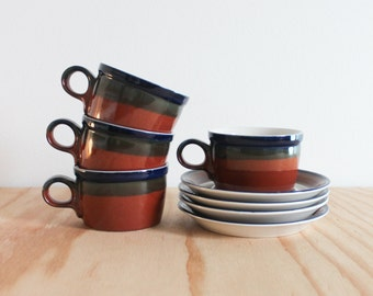 Four Mikasa Ben Seibel Potters Art Firesong Cup and Saucer Sets