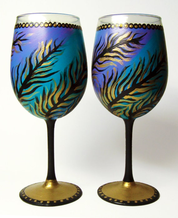 Hand painted wine glasses set of 2 unique design blue and for Cool wine glass designs