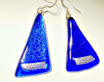 Earrings - Cobalt Blue Silver Fused Glass -  Triangular Dangles - Handmade Jewelry by Feralartist