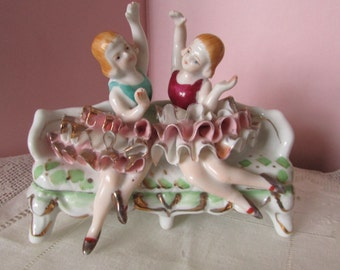 Porcelain Ballerina Women sitting on couch Paris Apartment Shabby Chic