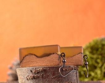 Moss Canyon II wooden earrings, nature earrings, resin earrings, wooden earrings, statement earrings, layered earrings.