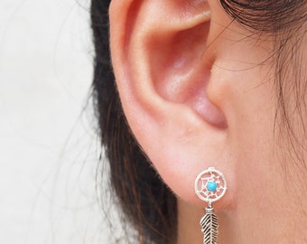 A Pair of Dream Catcher Stud Earrings, Feather Earrings, 925 Sterling Silver, Bohemian Jewelry, Gift for her | SB211