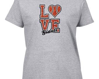 Love Giants Baseball Glitter T-Shirt, San Francisco Giants, Baseball.