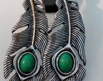Green Turquoise Feather Earrings