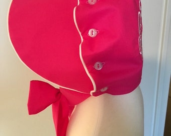 Hot Pink Monogrammed Ruffle Button Bonnet