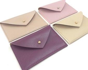 Leather Card Holder Leather Card Case Envelope Wallet Leather Credit Card holder Business Card Case ID Wallet Minimal Pink leather holder.