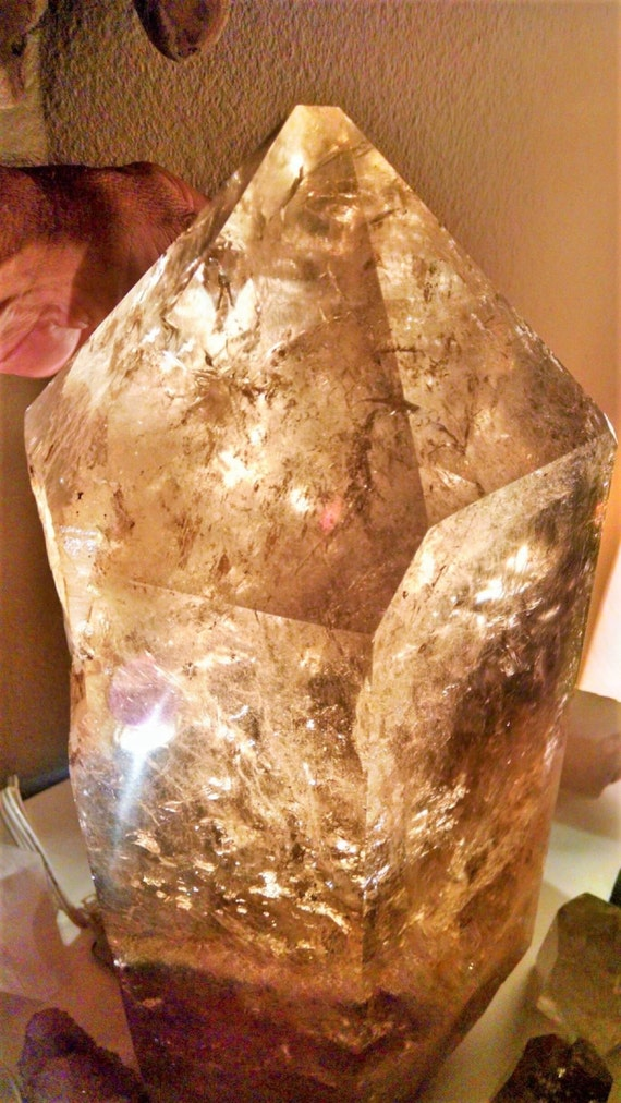 MUSEUM Quality - Extra Large Smokey Quartz EARTH KEEPER  Display Crystal with Rainbow Butterflies inside, Amazing Display Piece.