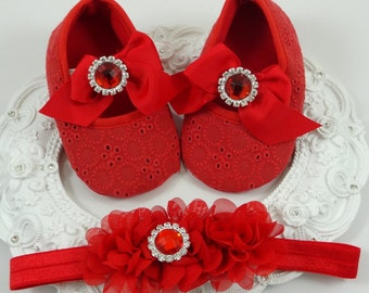 Baby Girl Crib Shoes and Headband Set, Newborn Baby Girl Shoes, Shower Gift, Gift for Baby, Baby Accessories