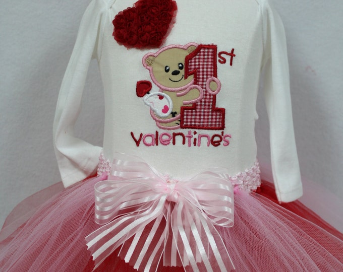 Baby Girl First Valentines Day outfit, Baby 1st Valentine Day bodysuit,Valentines Day Red tutu, Teddy Bear,Red Hearts, Valentine headband