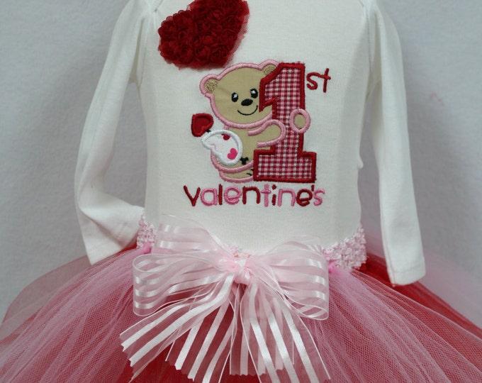Valentines Day outfit baby girl, Baby 1st Valentine Day, first bodysuit,Valentines Day Red tutu, Teddy Bear,Red Hearts, Valentine headband