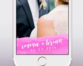 Custom Wedding Snapchat Geofilter / Watercolor, Paint look Snapchat Wedding Filter / Custom Snap Filter, Personalized for Weddings,Parties