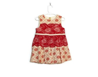 Toddler Christmas Holiday Dress 2T / Baby Clothes Red Lace Cream Print