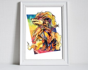 Pokemon Print - Arcanine - Print of original water colour painting