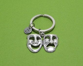 Theatre Keychain, Mask Keychain, Theatre Mask, Drama, Acting, Actor, Actress, Comedy, Tragedy, Personalized, Customized, Engraved, Initial