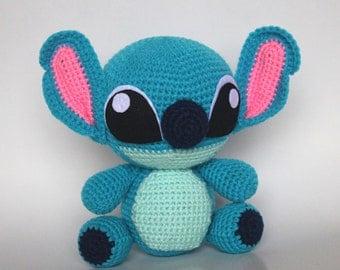 Handmade Crochet Stitch, Stitch Plush Toy, Blue Stitch, Stitch doll in Lilo and Stitch, Stuffed Animal, Baby shower gift, Baby room decor