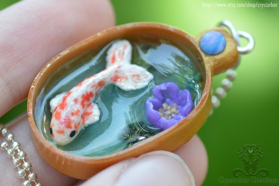 Japan koi fish necklace animal jewelry polymer clay for Clay fish pond