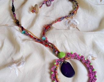 Glasto Festival Handmade Necklace Natural Crystals Crochet Chain Boho Hippie Style Natural Mystical Fiber Art Glastonbury Festival