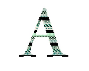 ADVANCED // Initial Cross Stitch Pattern // PDF File // All letters available