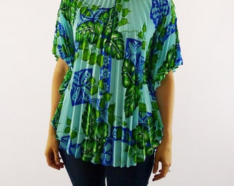 1970's Hawaiian Palm Accordion Pleated Top OSFM